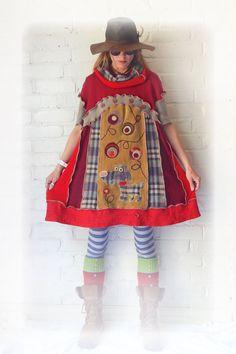 Rustic Dress Folk Dog Recycled Smock Short Sleeve by TheTopianDen