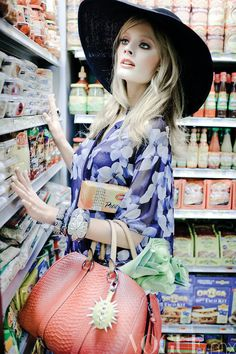 Constance Jablonski goes grocery shopping for the February issue of Vogue Mexico, by Jean-Francois Campos