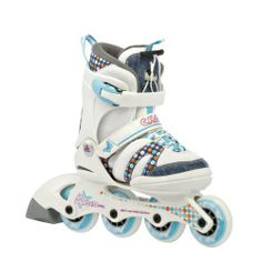 K2 Charm Pro Adjustable Girls Inline Skates 2012 (White/Blue) by K2. $99.95. 72 mm/80a dureometer wheels with ABEC 3 bearings for smooth, comfortable ride. Adjustability up to five full sizes means kids won't outgrow a K2 adjustable skate, it's simple to fine-tune the frame to fit different-sized feet, your child can wear these year after year as they grow, and then hand them down!. This frame is designed to absorb road vibration and lower the skater?s center of gravity for a sm...