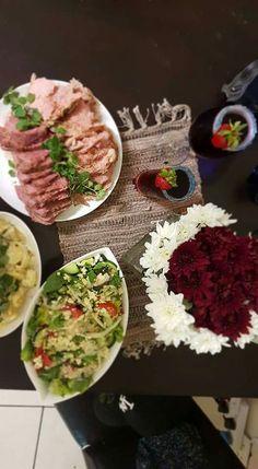 Christmas in South Africa Corn beef potato salad greek salad virgin drinks