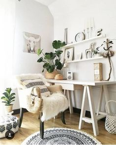 A contemporary office space with subtle BOHEMIAN touches: layered textures, pat. - A contemporary office space with subtle BOHEMIAN touches: layered textures, patterns, plants, ecle - Boho Gypsy, Bohemian Mode, Hippie Boho, Gypsy Style, Boho Style Decor, Bohemian Decor, Bohemian Office, Gypsy Decor, Bohemian Furniture