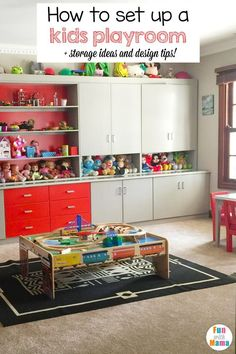 Learn how to set up a kids playroom.The best way to organize kids toys and keep your house clean with toddlers is to create a kids play space. These storage ideas, decorations, layout and colors including DIY tips are great for small rooms or big rooms. via @Fun With Mama - Kids Crafts And Activity Ideas