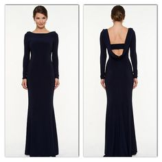 Le Chateau Knit Backless Gown in Navy - STYLE: 328315
