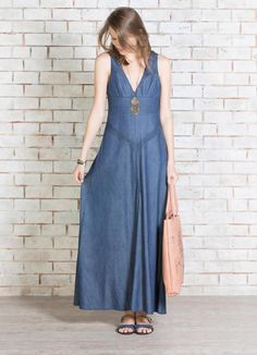 VESTIDO JEANS GISELE BLUE Demin Dress, Blue Denim Dress, Womens Denim Dress, Denim Outfit, Ethnic Fashion, Denim Fashion, Maternity Fashion, Modest Fashion, Over 60 Fashion