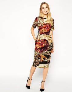 ASOS Wiggle Dress in Texture with Winter Floral Print