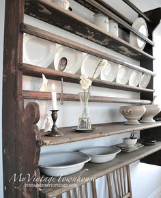 Welsh Cupboard  antique retro vintage farmhouse kitchen platerack plate rack wall shelf shelves shelving & Kitchen u0026 Dining u003e racks shelves u0026 hooks u003e Wooden plate rack/shelf ...