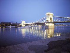 Chain Bridge Over the Danube River, Budapest, Hungary