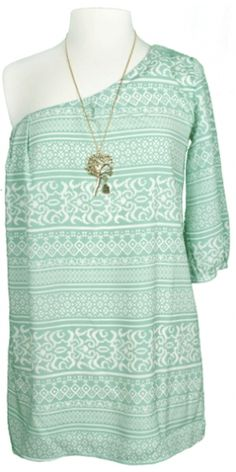 Turquoise one shoulder. Put a little brown belt with some cowboy boots and we will be in business!