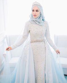 New Fashion Photography Dress Fairytale Ideas Muslim Wedding Gown, Muslimah Wedding Dress, Muslim Wedding Dresses, Hijab Bride, Blue Wedding Dresses, Wedding Gowns, Hijabi Wedding, Muslim Brides, Wedding Wear