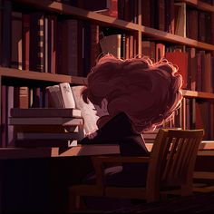 Some fan art of Hermione in the Hogwarts library doing a bit of light reading by ALEXANDRIA NEONAKIS