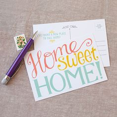 Change of address cards, modern and fun, Home sweet home moving postcards Home sweet home cards, moving announcement cards bright and fun