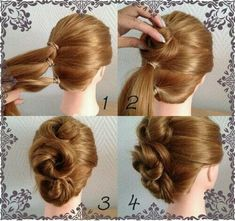 No written direction but be patient, follow the pictures a few times - then it will be much easier. A simple up do that can be produced from shorter hair, yet nice and full.