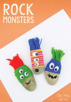 A fun tactile arts and crafts project! Yarn Wrapped Rock Monsters - Rock Crafts - Easy Peasy and Fun