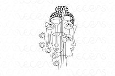 Buddha Faces Illustrative Vector Art by VecRas on @creativemarket