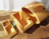 Wooden box bandsaw box huon pine handmade watery glass sculptured drawer knob