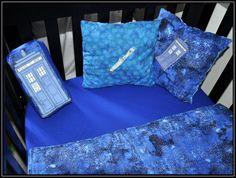 OHEMGEE! CUSTOM Doctor Who Baby Bedding - 4 Piece Crib Bedding Set - Tardis, Sonic Screwdriver and more - Geek Baby Nursery - Handmade. $275.00, via Etsy.