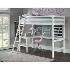 NE Kids Hillsdale Caspain Twin Study Loft, White is part of Kids Crafts Room Teen Girl Bedrooms Strength, style and substance are the foundations for the pride we feel in the Hillsdale Kids and Teen - Kid Beds, Bunk Beds, Teen Loft Beds, Trundle Daybed, Bedroom Furniture, Bedroom Decor, Kids Furniture, Furniture Stores, Bedroom Cabinets