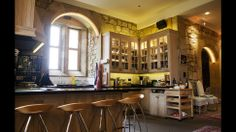 At home with the Duchess of Northumberland. Alnwick Castle. A view of part of the family's spacious private kitchen and dining area, where they can eat and relax away from the staterooms