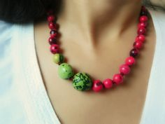 Amazon Necklace - Acai and Bombona Seeds / Chartreuse & Ruby Pink