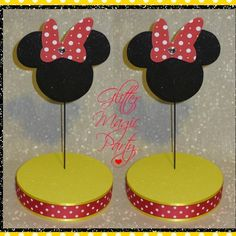 Minnie mouse polka dots stands - lollipops or cakepops stands - yellow/red minnie mouse - set of 2 stands