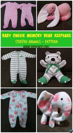 DIY Baby Onesie Memory Bear Keepsake Bear Animal Tutorial Free Pattern: Turn outgrown baby onesie and other clothes into stuffed animal keepsake.