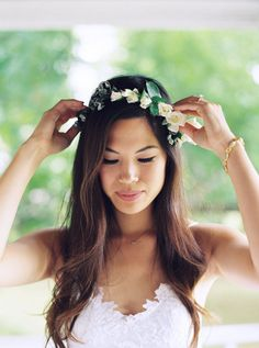 Boho chic flower crown: http://www.stylemepretty.com/2016/05/12/how-to-flower-crown-for-brides/