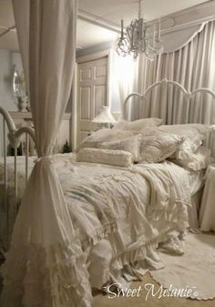 Shabby Chic Canopy Bed and Bedding.
