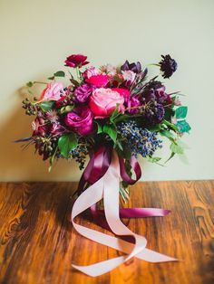 fuchsia bouquet with ribbons