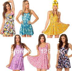 New 2014 Plus size women Cartoon Adventure Time digital print pleated Jake Scoop Skater Dress $12.98