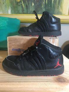 Jordan 1 Flight 4 Boys' Preschool Black/University Red/Black 28243066 Size  12