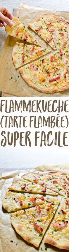 A super easy, authentic, recipe for flammekueche, the Alsatian pizza that& a popular party food throughout France. Try it on your friends! Pizza Recipes, Easy Dinner Recipes, Cooking Recipes, Healthy Recipes, Party Recipes, Alsatian, 30 Minute Meals, Chocolate Recipes, Quiches