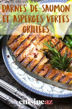 Cette recette printanière de darnes de saumon et asperges vertes grillées est pour 2 personnes. #recette #cuisine #saumon #asperge #aspergeverte Fish, Gourmet, Drinks, Grilled Chicken, Healthy Meals, Asparagus, Pisces