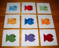 Set of 9 Bright Colored Cute Fish Quilt Top Blocks  ...Free Shipping...