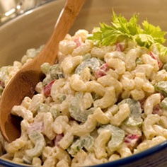 Classic Macaroni Salad - The original called for regular yellow mustard. I use that and salad pasta instead of elbow macaroni, sub ½ c sliced black olives for the bell pepper Healthy Recipes, Great Recipes, Cooking Recipes, Easy Recipes, Tortellini, Classic Macaroni Salad, Simple Macaroni Salad, Classic Salad, Pasta Salad Recipes
