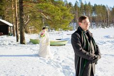 An Australian bride and a Finnish groom decided to have an open air chapel Winter Wedding in Finland. First look photos, fun games and lots of snow! Chapel Wedding, Winter Weddings, Finland, Raincoat, Photography, Fashion, Rain Jacket, Moda, Photograph