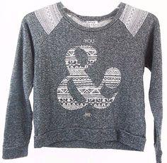 Kiss & Cry Womens Sweatshirt Lightweight Size M Ampersand Gray Crop Long Sleeve #KissCry #CropSweatshirt