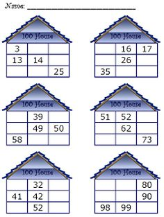 7.2.10 Numerals from 1 to 100: An independent activity to practise work on the blank hundred square. Use the clues to fill in the missing numbers (note that the numbers go from low to high, from top to bottom)