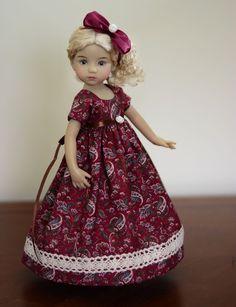"SOLD ""Burgundy Autumn"" Regency Dress, Outfit for 13"" Dianna Effner Little Darling…"