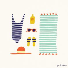 Quirky Summer Drawings · Bathing Suit · Beach Hat Towel Flip Flops · Inspiration for Illustration + Art + Graphic Design Projects · Jen B. Art And Illustration, Illustration Inspiration, Pattern Illustration, Trendy Mood, Do It Yourself Inspiration, Grafik Design, Illustrators, Print Patterns, Design Art