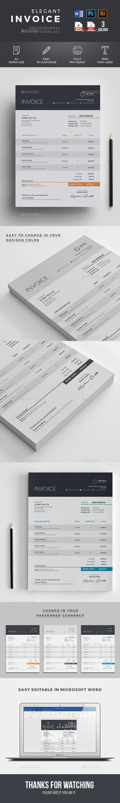 91 best Invoices images on Pinterest in 2018   Invoice design     Buy Invoice by Classicdesignp on GraphicRiver  Invoice Template Use this Clean  Invoice for personal  corporate or company billing purpose  This Simple