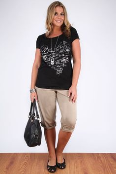 Black T-Shirt With Foil Scribble Heart Print And Dipped Hem: Amazon.co.uk: Clothing