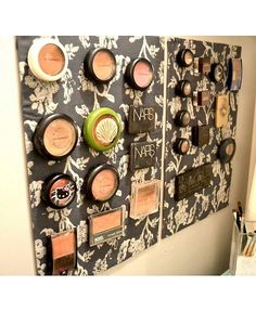 Makeup Magnet Board Here's a clever DIY trick - your makeup treasure trove can double as artwork with a magnet board.