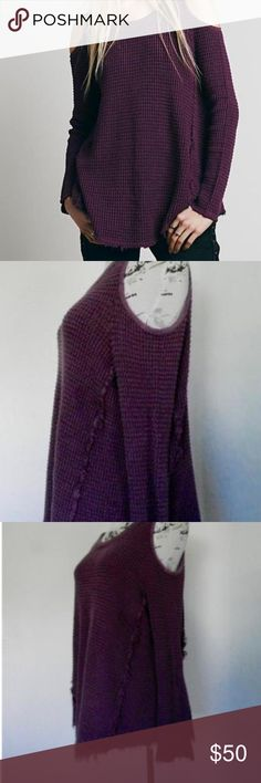Free People Sunrise Cold Shoulder Waffle Thermal Adorable Free People Sunrise Cold Shoulder Waffle Thermal Long Sleeve Purple Size Medium 21 inches armpit to armpit 29.5 inches long  This has a raw edge Fraying hem. In otherwise good condition Please ask any questions that you may have and Happy Bidding! Free People Tops Tees - Long Sleeve