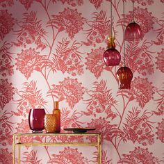 Bavero wallpaper from the Zapara Collection will shimmer and capture the light. It's a batik-style replicating foilage.  Includes FREE delivery Australia wide.  Available from www.silkinteriors.com.au  #wallpaper #red #interiordecorating