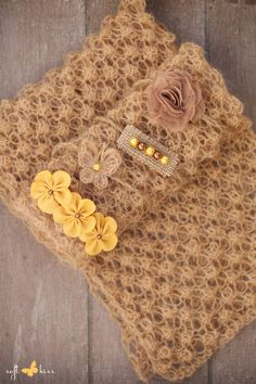 SET Knitted Newborn Brown Color Angora Wrap & 2 Handmade Tiebacks of Your Choice (Butterfly, Flowers, Pearls) / Newborn Photography Props by SoftButterflyKiss on Etsy