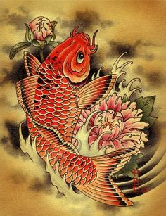 "Carp by artist Aaron Cox.Tattoo art koi fish and Japanese flower design.Giclee fine art reproductions on canvas.A Canvas Giclee is a gallery wrapped canvas print that comes on a 1.25"""" stretcher bar a"