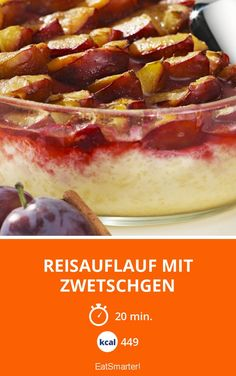 Rice casserole with plums - Rice casserole with plums – smarter – calories: 449 Kcal – time: 20 min. Fruit Smoothies, Smoothie Recipes, New Fruit, Prune, Food Items, Fruits And Veggies, Food And Drink, Stuffed Peppers, 20 Min