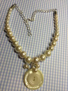Vintage White Button & pearl necklace by BornAgainButtons on Etsy, $20.00