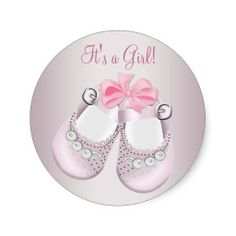 Pink Baby Shoes Pink Baby Shower Stickers