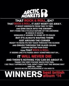 Arctic Monkeys: winners of Best Album at Brit Awards 2014. Alex sure knows how to make a speech!